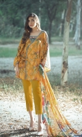 Piece: 3Pcs Shirt: 2.75 Mtr Digital Print Cotton Jacquard Dupatta: 2.5 Mtr Krinkle Digital Print Trouser: 2.5 Mtr Dyed Plain
