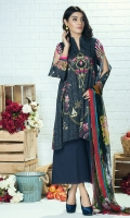 Piece: 3Pcs Front: 1.25 Mtr Lawn Karandi Digital Print Embroidery Back: 1.25 Mtr Lawn Karandi Digital Print Sleeves: 0.65 Mtr Digital Print Trouser: 2.5 Mtr Dyed Plain Shawl: 2.5 Mtr Krinkle Digital Print