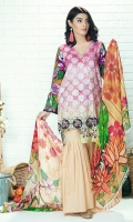 Piece: 3Pcs Front: 1.25 Mtr Modal Digital Print Back: 1.25 Mtr Modal Digital Print Sleeves: 0.65 Mtr Digital Print Trouser: 2.5 Mtr Dyed Plain Shawl: 2.5 Mtr Digital Print Silk Net
