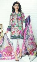 Piece: 3Pcs Shirt: 2.75 Mtr Digital Print Lawn Karandi Dupatta: 2.5 Mtr Krinkle Digital Print Trouser: 2.5 Mtr Dyed Plain
