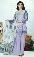 Piece: 3Pcs Front: 1.25 Mtr Digital Print Lawn Karandi  Back: 1.25 Mtr Lawn Karandi Digital Print Sleeves: 0.65 Mtr Digital Print Trouser: 2.5 Mtr Dyed Plain Dupatta: 2.5 Mtr Krinkle Digital Print