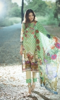 Piece: 3Pcs Front: 1.25 Mtr Lawn Karandi Digital Print Embroidery Back: 1.25 Mtr Lawn Karandi Digital Print Sleeves: 0.65 Mtr Digital Print Trouser: 2.5 Mtr Dyed Plain Dupatta: 2.5 Mtr Krinkle Digital Print