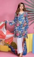 3 Pcs Digital Print Lawn Shirt, Digital Print Lawn Dupatta & Plain Dyed Trouser