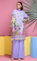 2 Pcs Digital Print Lawn Shirt & Plain Dyed Trouser
