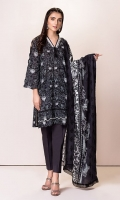 Front:1.25 Mtr Lawn Digital Print Embroidered Back:1.75 Mtr Lawn Digital Print Dupatta:2.5 Mtr Lawn Digital Print Embroidered Trouser:2.5 Mtr Dyed Cotton