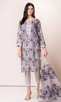 Front: 1.25 Mtr Lawn Digital Print Embroidery Back: 1.75 Mtr Lawn Digital Print Dupatta: 2.5 Lawn Digital Print Embroidery Trouser: 2.5 Mtr Dyed Cotton