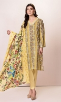 Front: 1.25 Mtr Lawn Digital Print Embroidered Back:1.75 Mtr Lawn Digital Print Dupatta:2.5 Mtr Lawn Digital Print Embroidered Trouser:2.5 Mtr Dyed Cotton