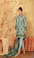 3 Piece 2.5 Mtr Viscous Jacaurd Print Shirt 2.5 Mtr Viscous Net Shawl 2.5 Mtr Dyed Plain Trouser