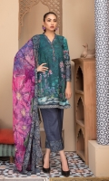Piece: 3Pcs Front: 1.25 Mtr Modal Digital Print Back: 1.25 Mtr Modal Digital Print Sleeves: 0.65 Mtr Modal Digital Print Dupatta: 2.5 Mtr Krinkle Digital Print Trouser: 2.5 Mtr Dyed Plain