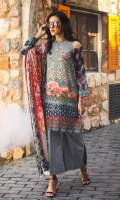 Piece: 3Pcs Front: 1.25 Mtr Modal Digital Print  Back: 1.25 Mtr Modal Digital Print Sleeves: 0.65 Mtr Modal Digital Print Shawl: 2.50 Mtr Silk Shawl Digital Print Trouser: 2.50 Mtr Dyed Plain