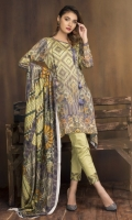 3 Piece  Shirt: 2.75 Mtr Digital Print Plain Viscous  Dubatta: 2.5 Mtr Digital Silk viscous Shawl  Trouser: 2.35 Mtr Dyed Plain Viscous
