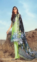Digital Printed & Embroidered Lawn Shirt Digital Printed & Embroidered Bamber Chiffon Dupatta Dyed Cambric Trouser Dyed Printed Sleeves