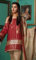 Embroidered Jacquard Shirt Embroidered Chiffon Dupatta Dyed Trouser