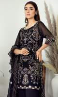 2.5 meters Embroidered Chiffon Shirt with Thread and Tilla Work, 0.5 meter Embroidered Chiffon Sleeves, 2.5 meters Plain Raw Silk Trouser, 2.5 meters Embroidered Chiffon Dupatta