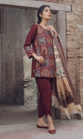 Kashmiri Embroidered Front Plain Back Plain Sleeves Wool Shawl Plain Trouser