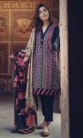 Kashmiri Embroidered Front Plain Back Plain Sleeves Wool Shawl Embroidered Daman Front & Back Lace Plain Trouser
