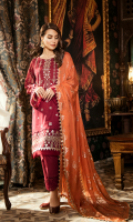 Sheesha Embroidered Front Jacquard Back Jacquard Sleeves Foil Printed Chiffon Dupatta Dyed Trouser Sheesha Embroidered Daman Patch Schiffli Embroidered Trouser Patch