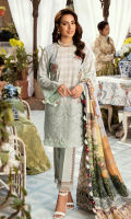 Foam Printed Front Pearl Printed Back Pearl Printed Sleeves Digital Printed Pure Silk Dupatta Dyed Trouser Schiffli Embroidered Daman Schiffli Embroidered Front Lace  Embroidered Front Motifs  Embroidered Trouser Lace  Checked Organza Fabric for Daman/ Sleeves