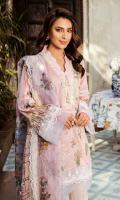 Jacquard Embroidered Front Jacquard Digital Printed Back Jacquard Digital Printed Sleeves Digital Printed Silk Kamdani Dupatta Schiffli Embroidered Trouser Embroidered Lace for Front & Sleeves