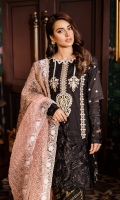 Laser Cut Embroidered Front Printed Back Embroidered Sleeves Organza Schiffli Embroidered Block Printed Dupatta Pearl Printed Trouser Embroidered Neckline Laser Cut Embroidered Sleeves Patch  Embroidered Front Lace