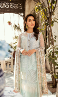 Schiffli Embroidered Front Piece Organza Embroidered Front Piece  Schiffli Embroidered Lace for Front  Schiffli Embroidered Border  Plain Slip for Front  Digital Printed Back  Net Sleeves  Schiffli Embroidered Chiffon Dupatta  Digital Printed Charmouse Silk Patch  Dyed Trouser
