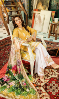 Chickenkari Embroidered Front Digital Printed Back Plain Sleeves Digital Printed Pure Silk Dupatta Dyed Trouser Embroidered Neckline  Embroidered Sleeves Patch  Embroidered Trouser Patch  Embroidered Trouser Lace