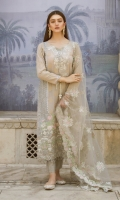 Jacquard Lawn Front Jacquard Lawn Back Jacquard Lawn Sleeves Net Embroidered Dupatta Pearl Printed Trouser Embroidered Lace for Side Panels Embroidered Neckline Two Embroidered Borders