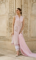 Schiffli Embroidered Rocket Net Front Plain Lawn Lining Digital Printed Lawn Back Rocket Net Sleeves Schiffli Embroidered Rocket Net Dupatta Plain Trouser Embroidered Lace for Trouser Two Embellished Patches