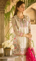 Embroidered Jacquard Lawn Front Digital Printed Jacquard Lawn Back Embroidered Chiffon Sleeves Net Embroidered Dupatta Plain Trouser Embroidered Lace for Front