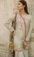 Pearl Printed Lawn Front Pearl Printed Lawn Back Pearl Printed Lawn Sleeves Digital Printed Silk Dupatta Pearl Printed Trouser Embroidered Patches for Shoulders Embroidered Border Embroidered Lace Front Embroidered Patch