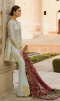 Pearl Printed Jacquard Lawn Front Pearl Printed Jacquard Lawn Back Pearl Printed Jacquard Lawn Sleeves Organza Block Printed Dupatta Plain Trouser Embroidered Patches for Sleeves Embroidered Patches for Trouser Charmeuse Embroidered Patches for Dupatta Pallu