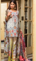 Embroidered Front Printed Back Printed Sleeves Digital Silk Dupatta Printed Trouser Front Embroidered Border Patch