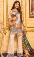 Digital Printed Front Digital Printed Back Digital Printed Sleeves Digital Silk Dupatta Dyed Trouser Front Embroidered Neckline Front Embroidered Border Embroidered Lace for Trouser