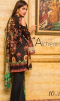 Embroidered Front Digital Printed Back Digital Printed Sleeves Digital Chiffon Dupatta Dyed Trouser Embroidered Border Patch for front