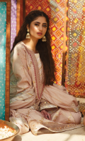 DIGITAL PRINTED GOTTA EMBROIDERED FRONT DIGITAL PRINTED BACK DIGITAL PRINTED SLEEVES EMBROIDERED NECKLINE GOTTA EMBROIDERED BORDER FOR FRONT AND SLEEVES JACQUARD NET EMBROIDERED DUPATTA DYED TROUSER