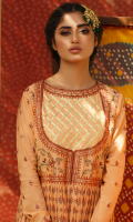 DIGITAL PRINTED FRONT AND BACK EMBROIDERED SLEEVES EMBROIDERED NECKLINE LACE EMBROIDERED FRONT BODICE EMBROIDERED NECKLINE EMBROIDERED SLEEVES BORDER EMBROIDERED DUPATTA DYED TROUSER