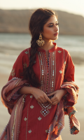 SEQUINS EMBROIDERED FRONT DIGITAL PRINTED BACK EMBROIDERED SLEEVES EMBROIDERED LACE FOR FRONT, SLEEVES, AND TROUSER SHEESHA EMBROIDERED NECKLINE EMBROIDERED MOTIFS FOR FRONT HANDMADE CHAPPTI DORRI CHIFFON DUPATTA EMBROIDERED CHATTA PATTI BORDER FOR DUPATTA DYED TROUSER