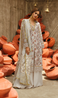 ROCKET NET EMBROIDERED FRONT DIGITAL PRINTED BACK ROCKET NET EMBROIDERED SLEEVES PLAIN SLIP FOR FRONT GOTTA EMBROIDERED BORDER FOR SLEEVES AND FRONT HANDMADE COTTON NET DUPATTA WITH JACQUARD BORDER AND CHAPTTI DORI DYED TROUSER