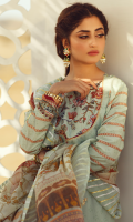 DIGITAL PRINTED GOTTA EMBROIDERED FRONT DIGITAL PRINTED BACK DIGITAL PRINTED EMBROIDERED SLEEVES EMBROIDERED NECKLINE EMBROIDERED BORDER FOR FRONT AND SLEEVES DIGITAL PRINTED SILK DUPATTA DYED TROUSER