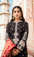 Sheesha Embroidered Front Pearl Printed Back Embroidered Sleeves Banarsi Dupatta Plain Trouser Embroidered Neckline Embroidered Trouser Lace