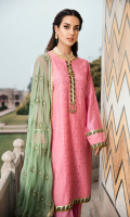 Chickenkari Embroidered Front with Kamdani Digital Printed Back Chanderi Dyed Sleeves Embroidered Chiffon Dupatta Dyed Trouser Schiffli Embroidered Trouser Patch Zarri Organza Dupatta Border