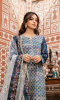 Digital Printed Front with Dorri Work Digital Printed Back Digital Printed Sleeves Net Embroidered Dupatta Plain Trouser Embroidered Charmouse Patch Digital Printed Charmouse Patch for Dupatta