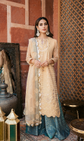 Schiffli Embroidered Front Digital Printed Back Embroidered Chiffon Sleeves Jacquard Trouser Chiffon Embroidered Dupatta Sheesha Embroidered Neckline Sheesha Embroidered Daman