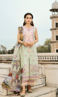 Embroidered Front Digital Printed Back Digital Printed Sleeves Digital Printed Silk Dupatta Plain Trouser Embroidered Neckline on Charmouse Silk Embroidered Trouser Lace Embroidered Border Embroidered Border Lace