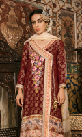 Jacquard Front Digital Printed Back Jacquard Sleeves Sheesha Embroidered Dupatta Plain Trouser 2 Digital Printed Charmouse Silk Patches Embroidered Neckline Patch Dorri and Marrori Work Patti Dorri Work Patti Embroidered Trouser Lace