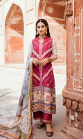 Sheesha Embroidered Front Digital Printed Back Digital Printed Sleeves Digital Printed Silk Dupatta Plain Trouser Embroidered Border on Charmouse Silk Embroidered Lace 2 Schiffli Embroidered Lace Embroidered Lace for Trouser