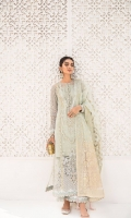 Embroidered front center panel Embroidered Side Panels For Front Embroidered Neckline Dori Embroidered Neckline Dori Embroidered Lace for front center panel Dori Embroidered Lace for Back Daman Embroidered Back Embroidered Sleeves Embroidered lace for Front, sleeves and Trouser Raw Silk Dyed trouser Tie and dye hand printed dupatta Dyed Slip