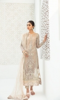Embroidered Front center Panel Embroidered Sides Panel Embroidered Back Embroidered lace for front and back Embroidered Border for front, back and dupatta Embroidered Sleeves Embroidered Sleeves patches Embroidered Dupatta Embroidered Lace for Trouser Raw Silk Dyed Trouser Dyed Slip
