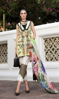 Embroidered Front Digital Printed Back Digital Printed Sleeves Digital Printed Cotton Net Dupatta Dyed Trouser Embroidered Trouser Lace
