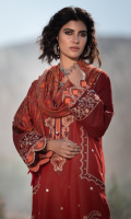 Sheesha Embroidered Front Embroidered Border For Front On Charmeuse Silk Embroidered Neckline Block Printed Back Embroidered Sleeves Border Embroidered Sleeves Patch On Charmeuse Silk Plain Trouser Hand Woven Wool Shawl (Double Sided